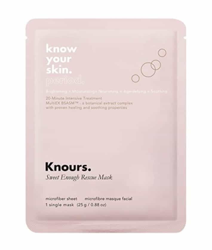 knours sheet mask in pink packaging