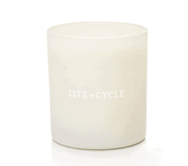 lite + cycle candle on a white background