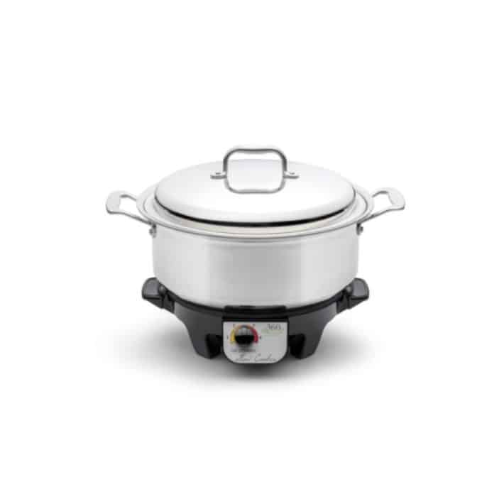 steel pot with heater for cooking
