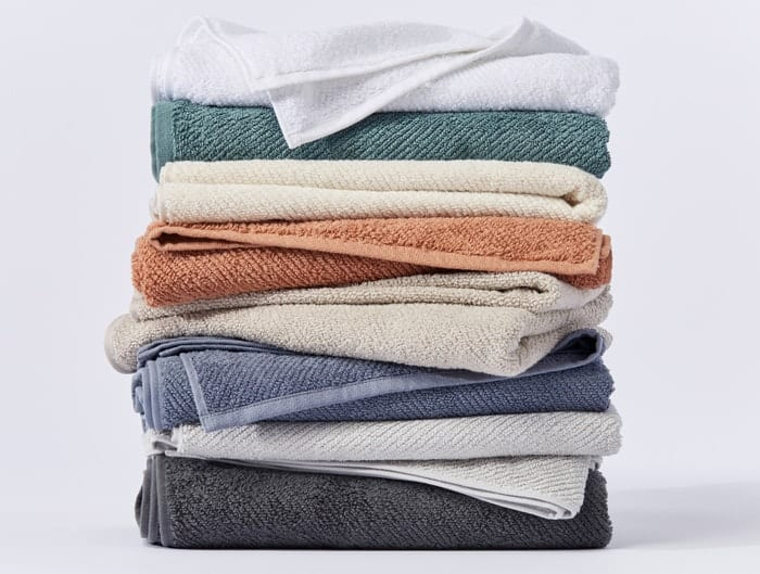 stack of organic towels in various colors