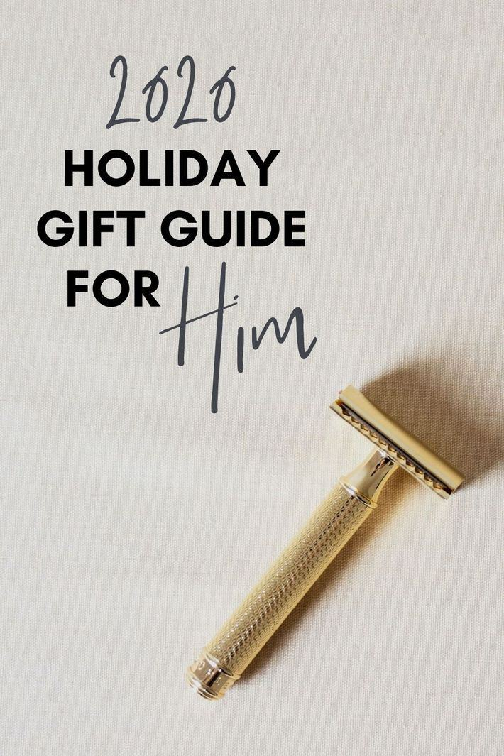 a gold safety razor with 2020 holiday gift guide overlay