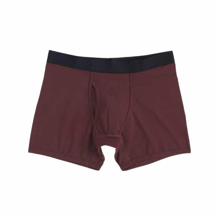 pair of maroon organic boxers