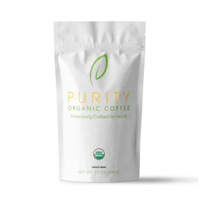 sealed pouch of Purity Organic Coffee