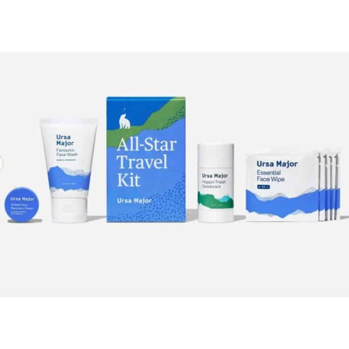 Ursa Major travel kit with face wipes, deodorant, face wash, and face cream