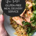 bowl of Okinawa Salmon with Terikayi Noodle Stirfry with text overlay mentioning gluten-free meal delivery service