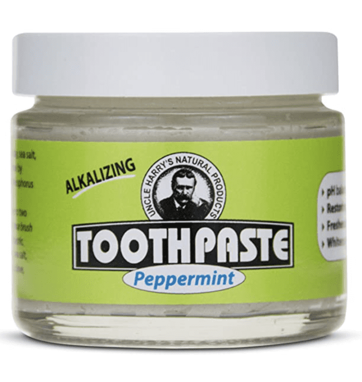 Jar of Uncle Harry's Toothpaste in peppermint
