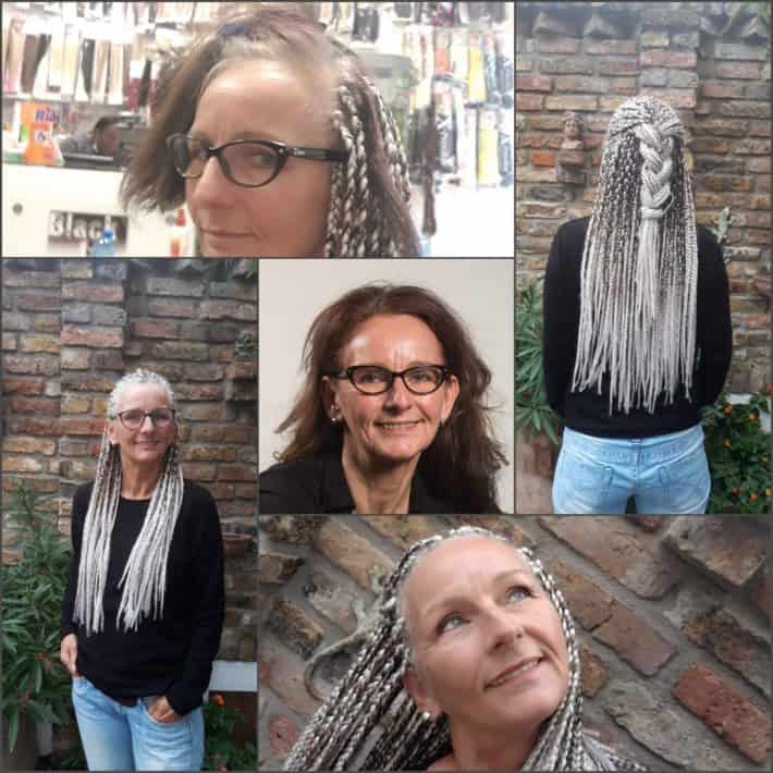 Woman with gray hair wearing extensions long hair