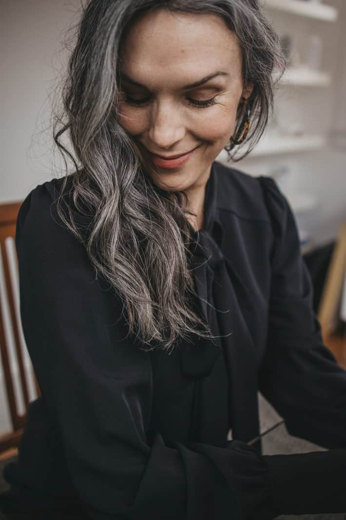woman with wavy gray hair