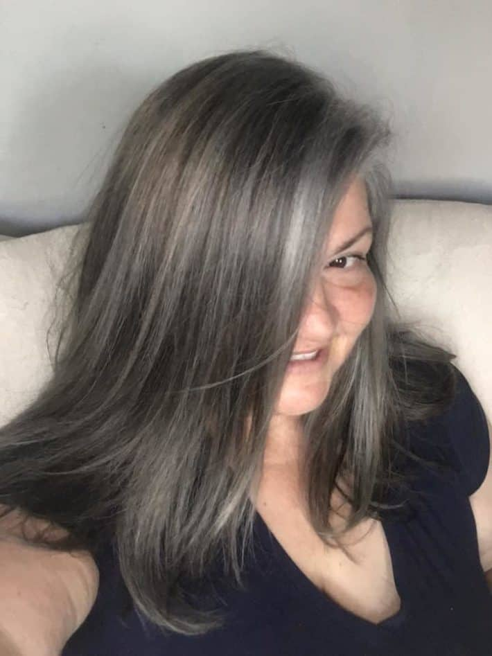 Woman with gray hair and overtone