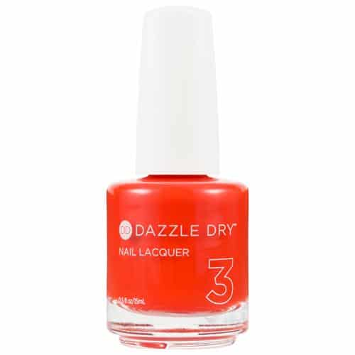 bottle of red nail polish Dazzle dry