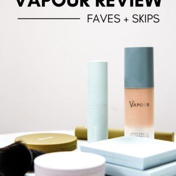 showing vapour organic makeup on a white table