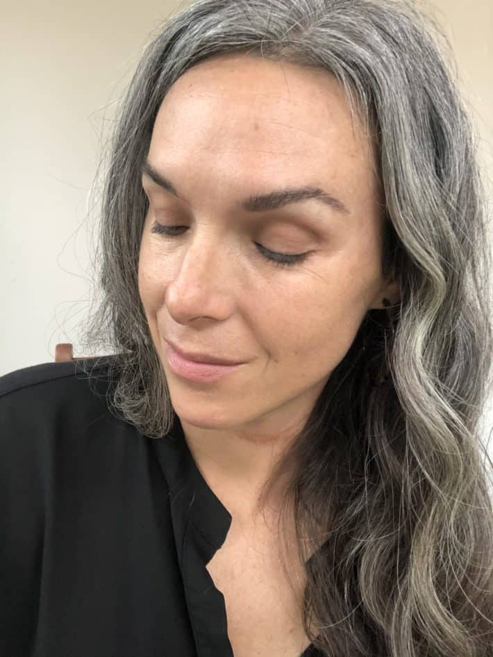 showing face with vapour eye shadow applied