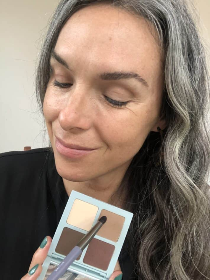 showing face with no vapour eye shadow applied