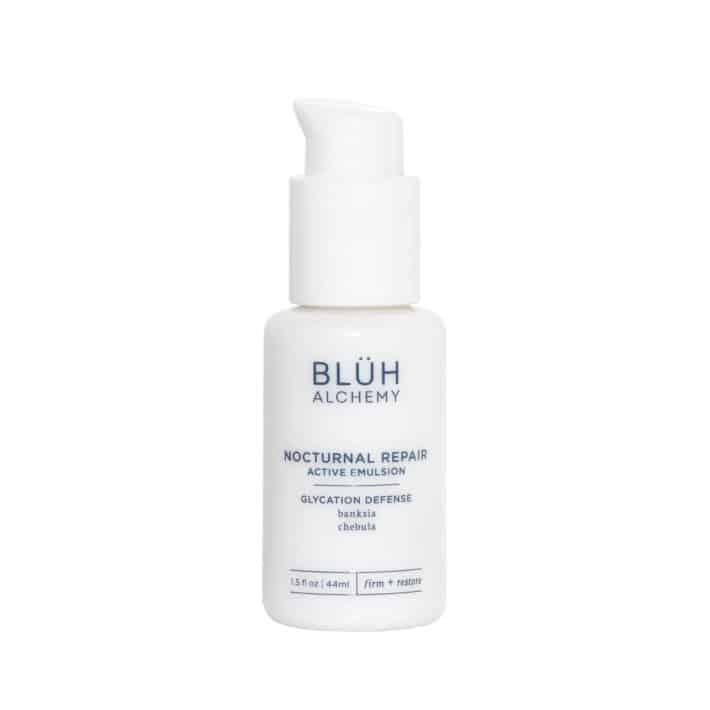 Night time treatment from BLUH Alchemy in small white bottle