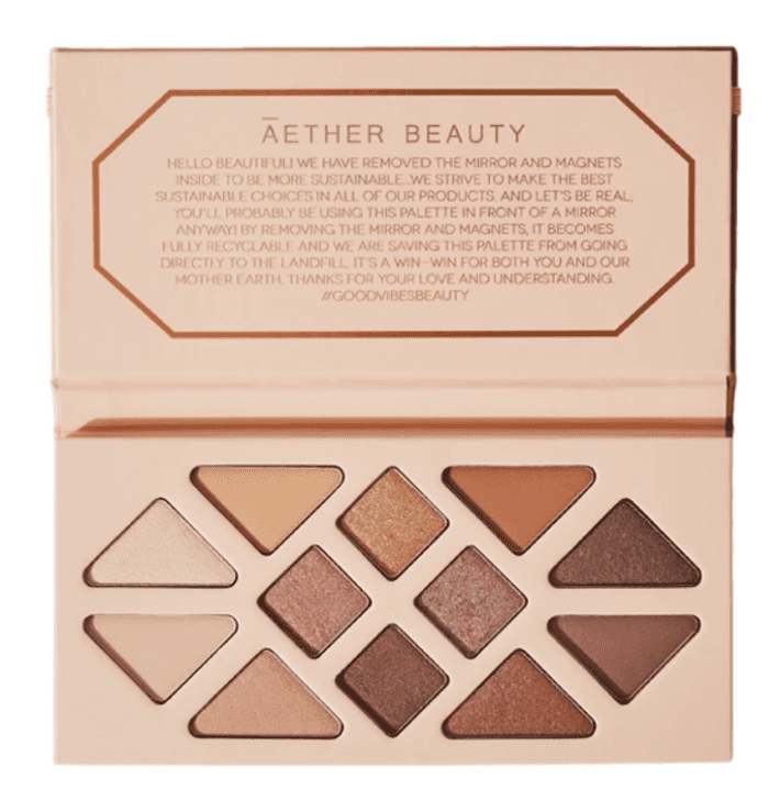 Aether beauty eyeshadow palette in summery bronze colors