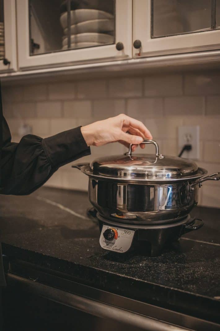 stainless steel pot on stove