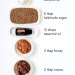 The ingredients for a body polish you can make at home are laid out on a table.