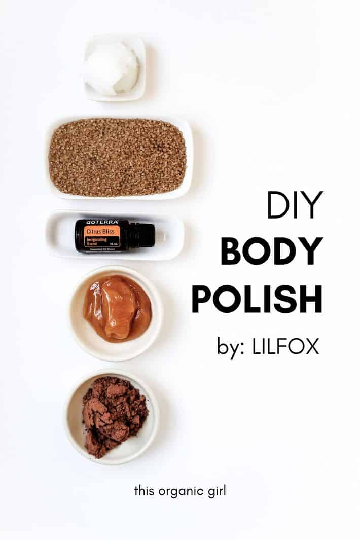 The ingredients for LILFOX's DIY body polish are laying on a white table.