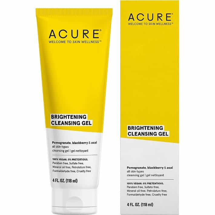 cleansing gel from acure in small tube with box