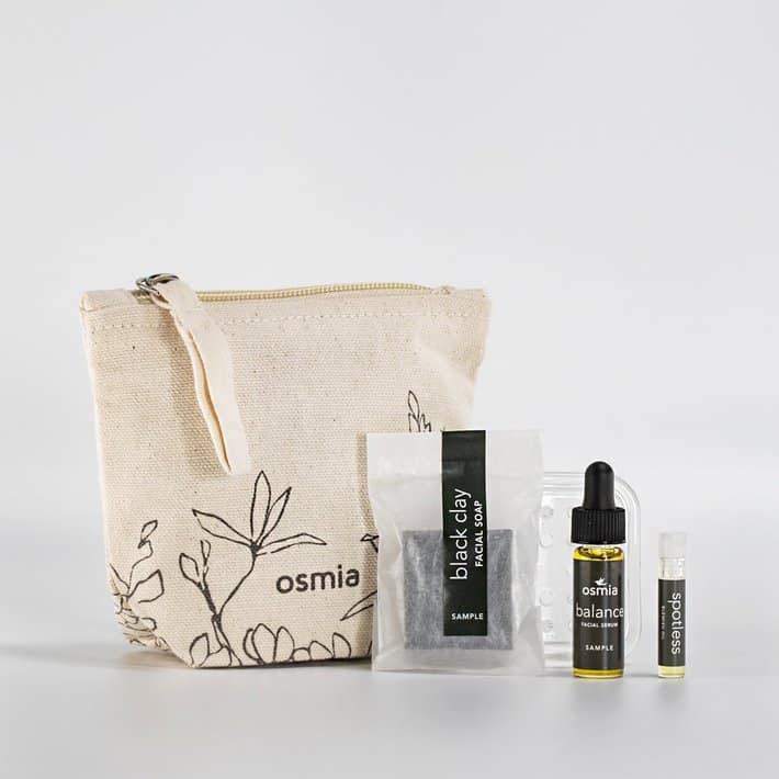 Acne products on table in a bag