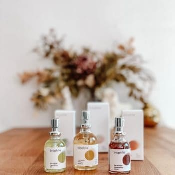 skincare oils from biophile in glass bottles on a table