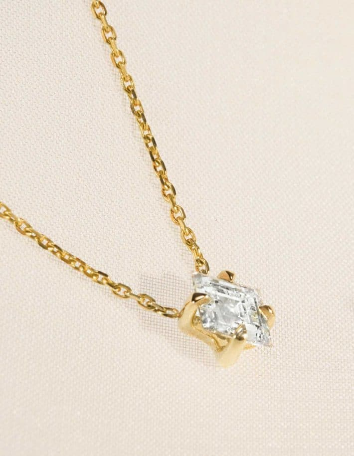 sustainable gold necklace with clear stone