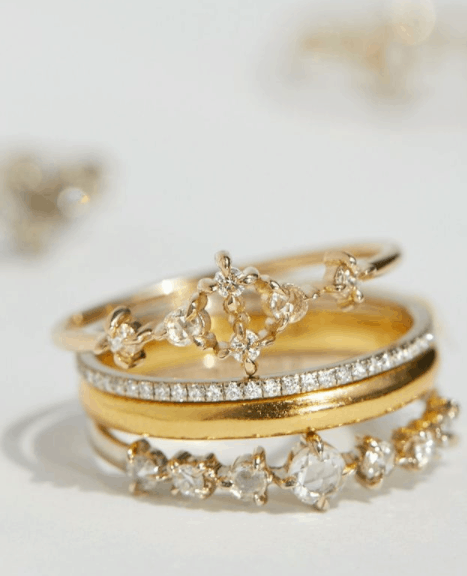 a set of four rings from sustainable materials