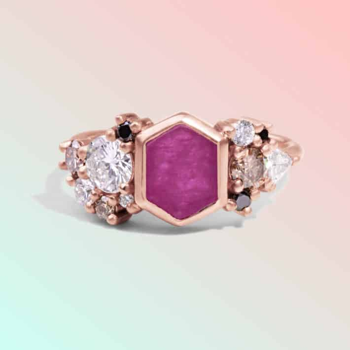 colorful pink stone ring