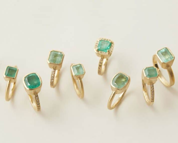 rings with green crystal