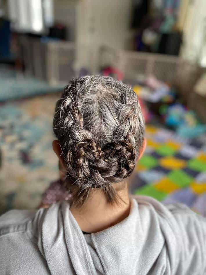 woman with braids and gray hair