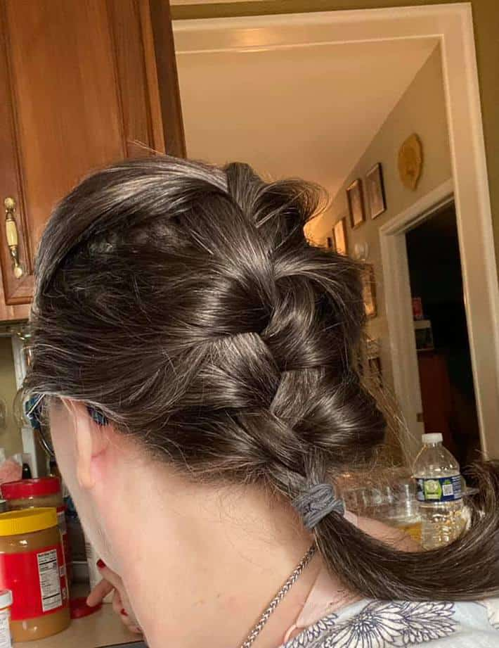 woman with gray hair braided