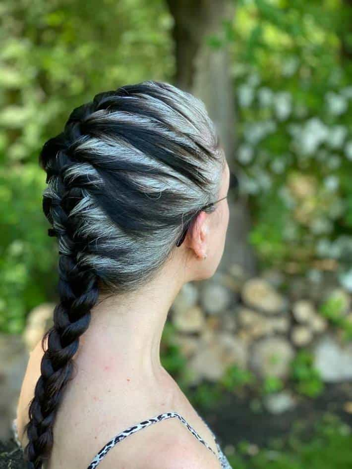 woman with braid and gray hair