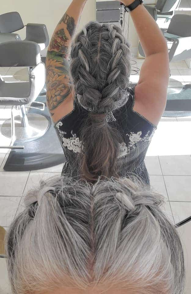 woman with braided gray hair