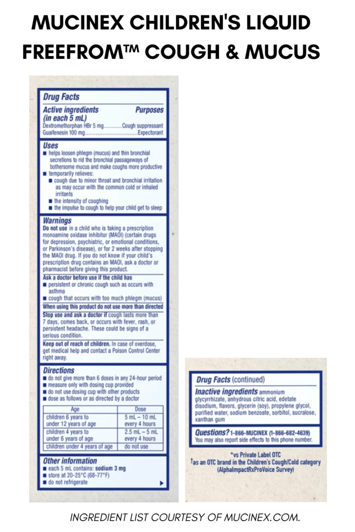 Muccinex cough syrup ingredient list