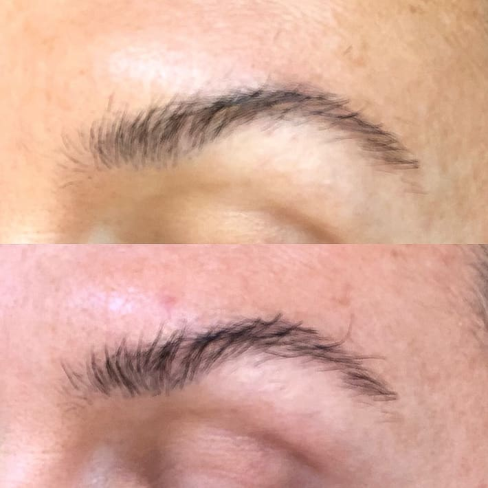Lisa's before and after photos, lash and brow serum.