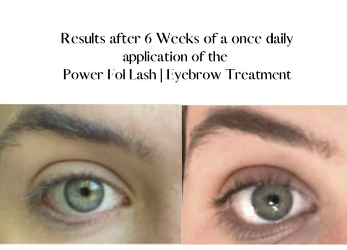 before and after using lash and brow serum 1